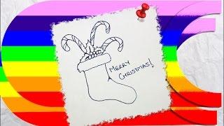 how to draw a cartoon christmas stockings Thumbnail