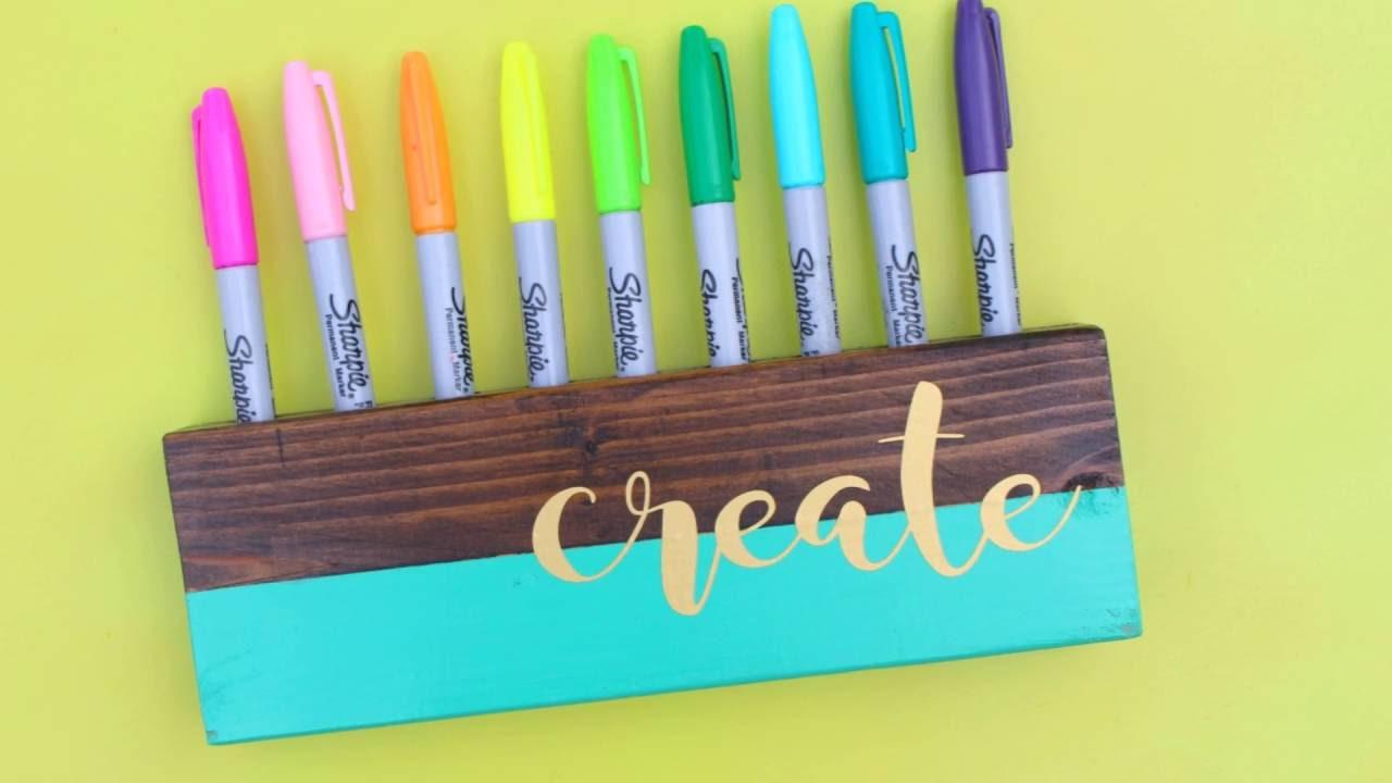 crayon and marker holder diy youtube. Black Bedroom Furniture Sets. Home Design Ideas