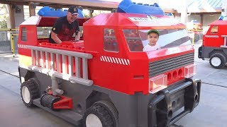 Dima with Daddy Pretend play in Legoland Outdoor Playground and Amusement park