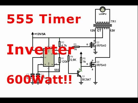 Powerful 600Watt inverter with 555 timer and IRF540 Mosfets