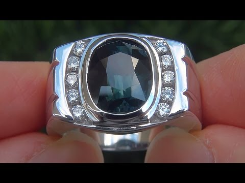 GIA Certified Men s 7 55 ct UNHEATED VVS Blue Sapphire Diamond 14k