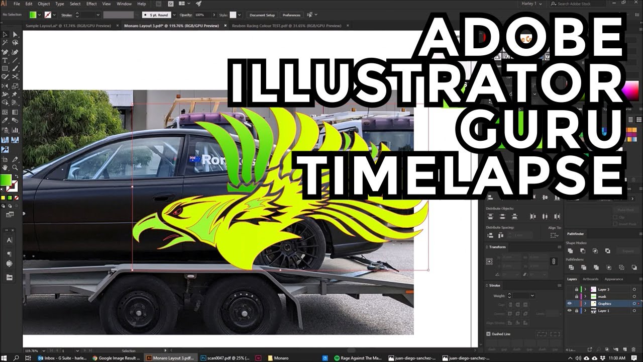 Adobe Illustrator Guru Monaro Race Car Design