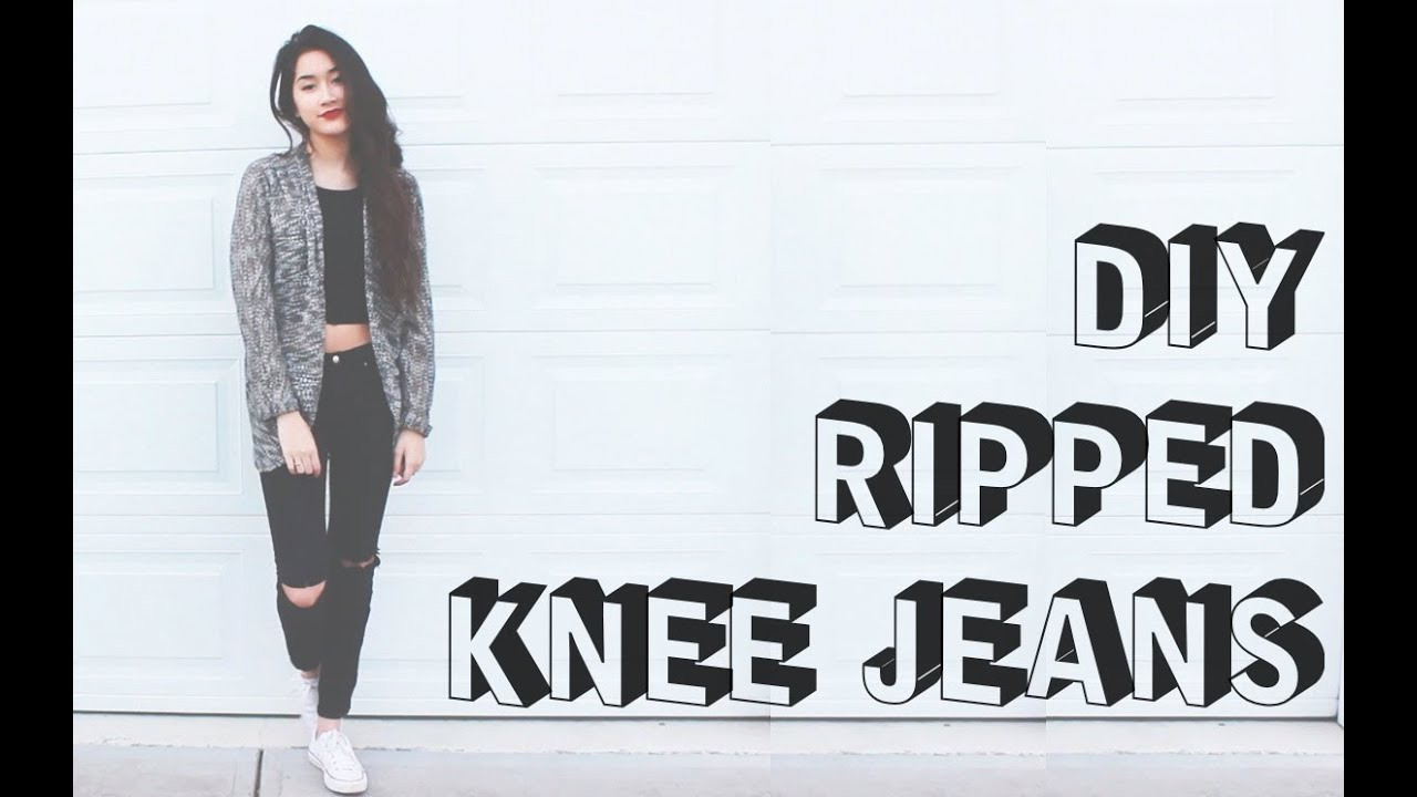 DIY Ripped Knee Jeans [S³] | ToThe9s - YouTube