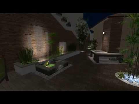 """""""El Patio Café"""" · Hermoso jardín acuático · Diseño 3D"""