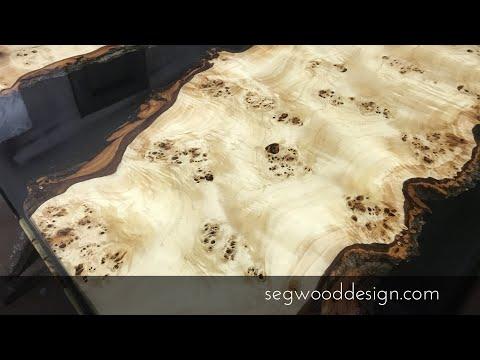 Kitchen island, epoxy countertop - Poplar with black epoxy background and clear epoxy
