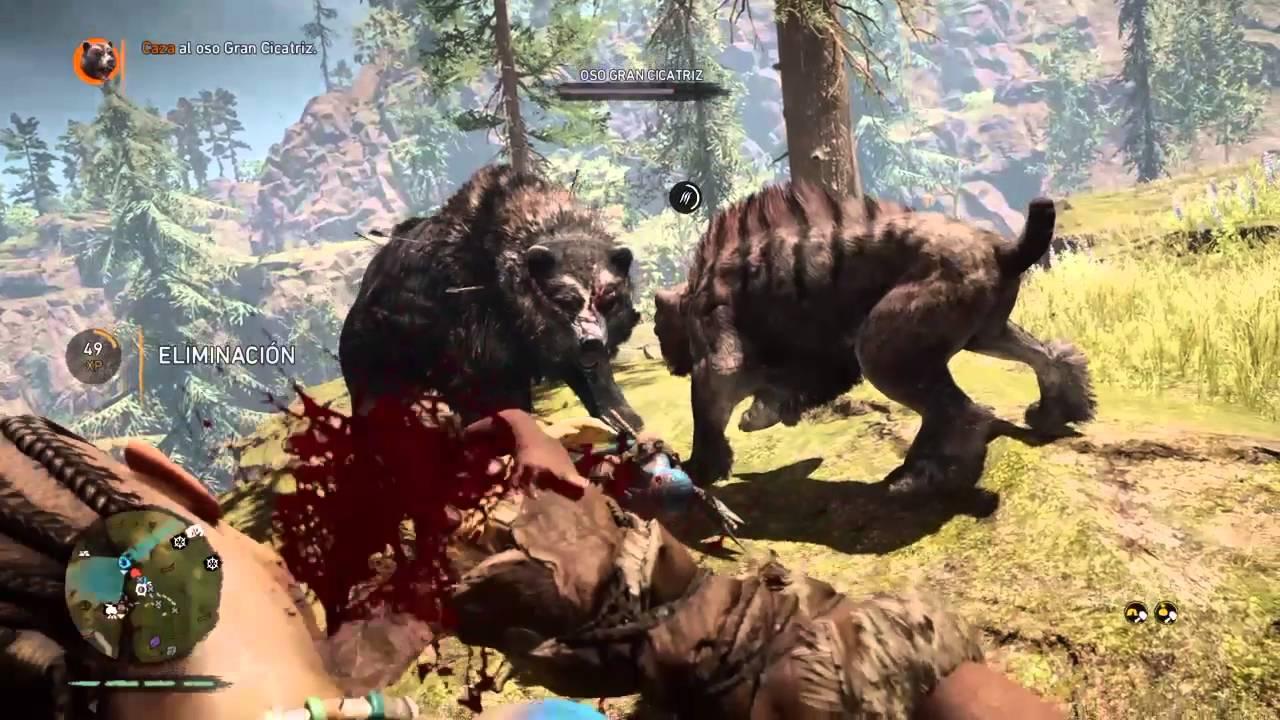Far Cry Primal Cazando Oso Gran Cicatriz - YouTube