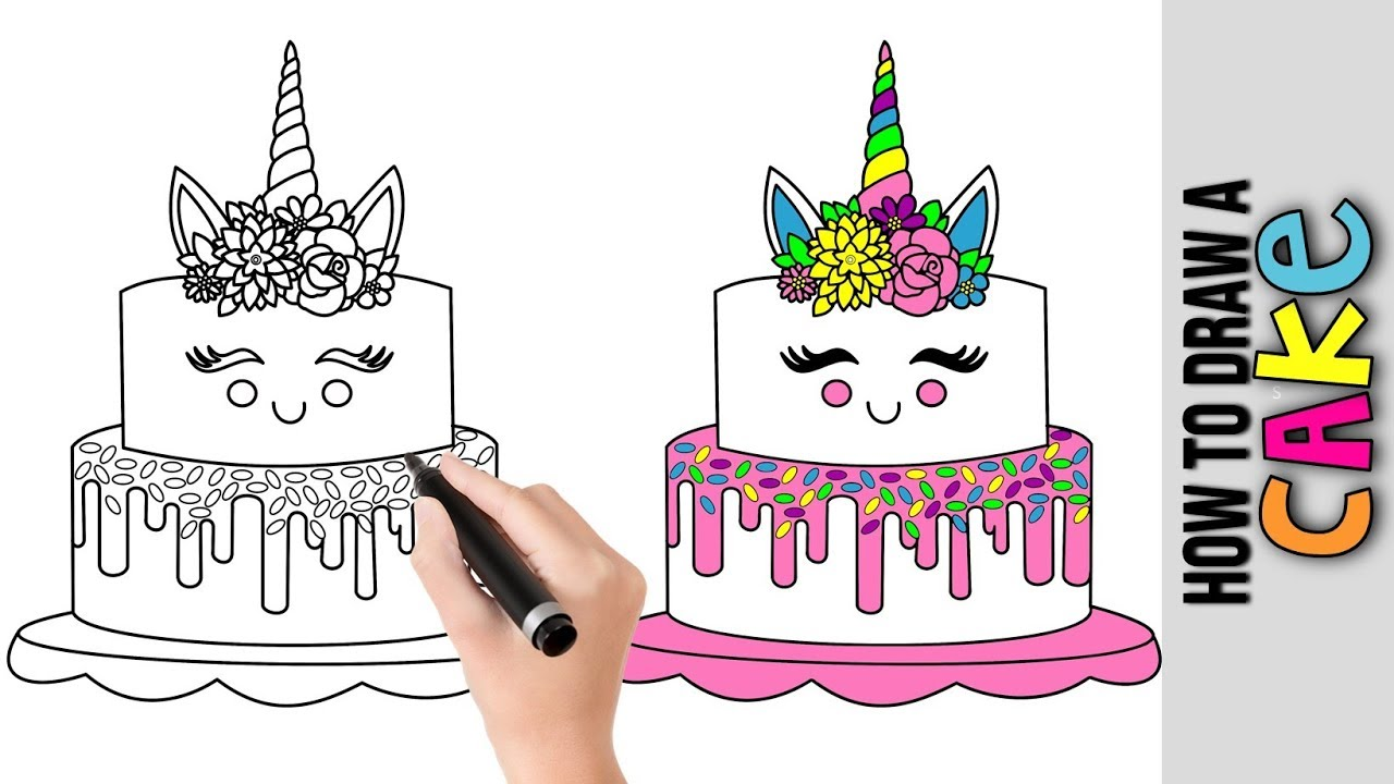 How To Draw A Unicorn Cake ★Cute Easy Drawings Tutorial ...