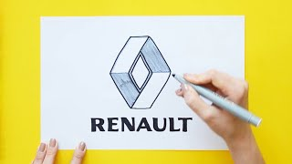 How to draw and color Renault Logo