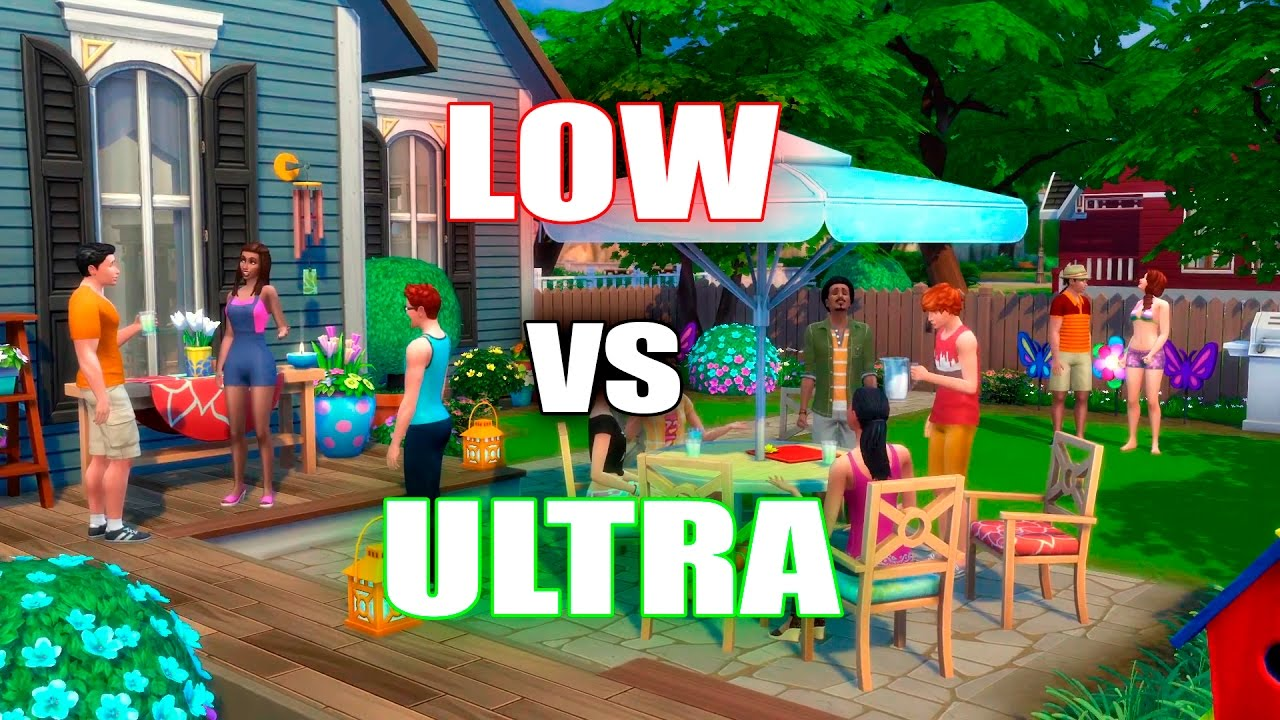 the sims 4 low vs ultra graphics youtube
