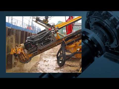 EURODRILL - RHV 2400     Verankern einer Spundwand / Anchoring of a sheet pile wall