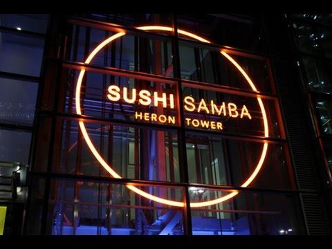 Sushi Samba lift up and lift ride - Heron Tower (London)