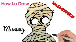 How to Draw Cute Mummy for Halloween | Funny drawings for kids