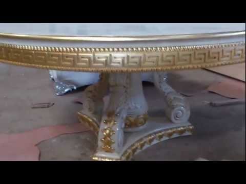 Luxury Versace Round Dining Table Antique Ivory Gold Leaf VIXIDesign.com