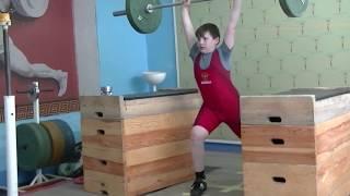 Пряничников Максим, 10 лет, вк 62 Толчок с плинтов 43  кг