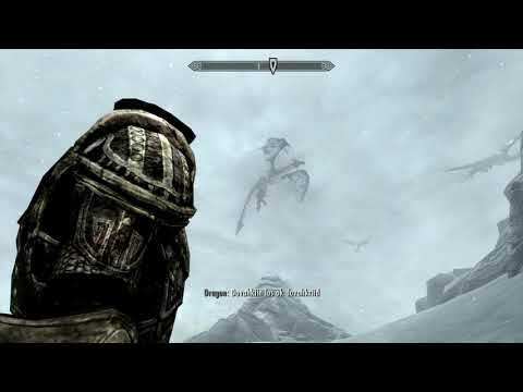 Skyrim Special Edition - Throat of The world End Game: Dragons Fly & Talk Gameplay Sequence (2016)