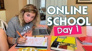 FIRST DAY OF ONLINE SCHOOL | VIRTUAL HIGH SCHOOL AND MIDDLE SCHOOL WITH THREE TEENS