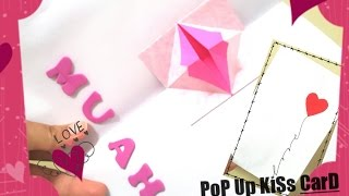 Download lagu How to Make Pop Up Cute Kissing Lips Card Homemade valentines day card DIY Valentine s day Card MP3