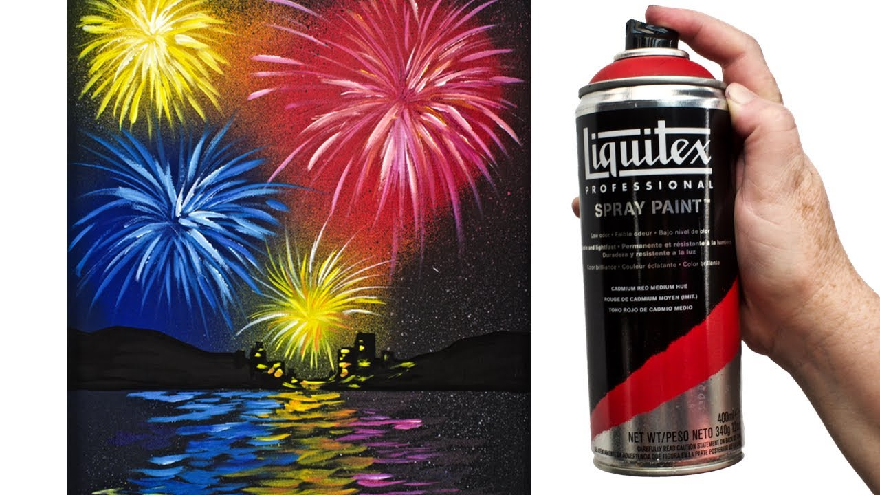 Easy fireworks over water acrylic painting tutorial for How does spray paint work