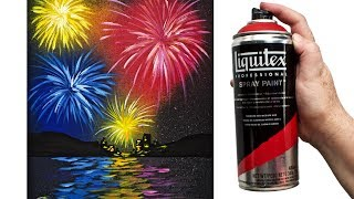 EASY Fireworks Over Water Acrylic painting Tutorial Liquitex Spray Paint