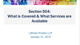 Section 504: What is Covered and What Services are Available