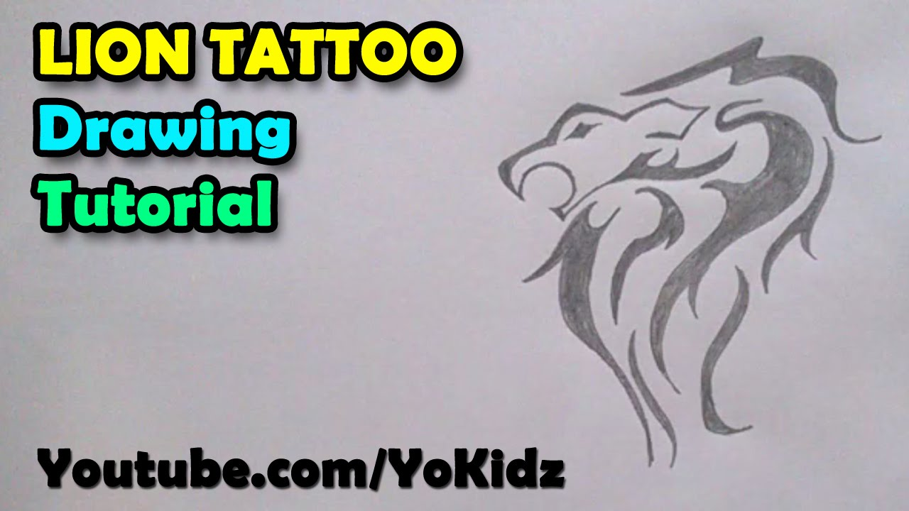 How to draw tattoos lion tattoo on paper youtube for Drawing tattoos on paper