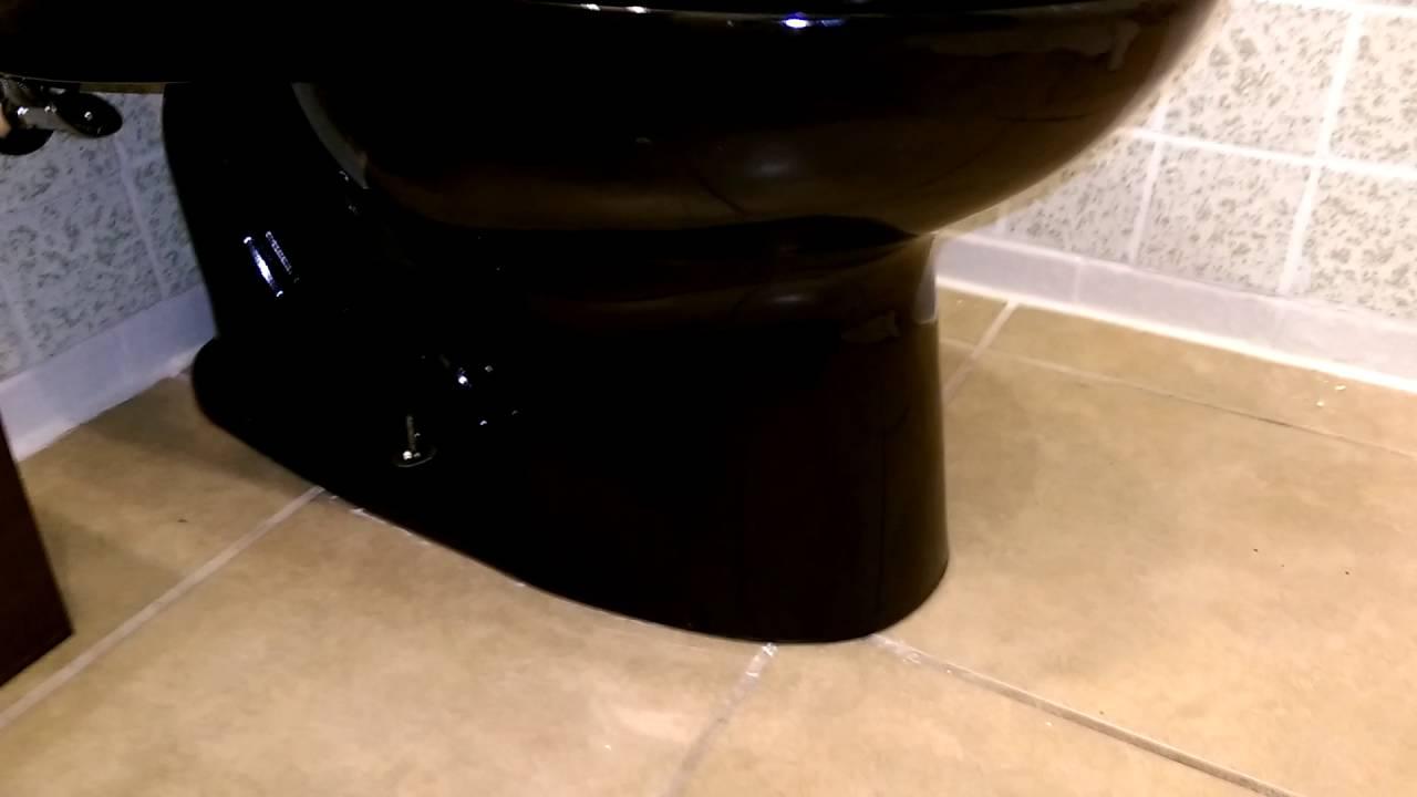 Black Toto one piece toilet flushing - YouTube