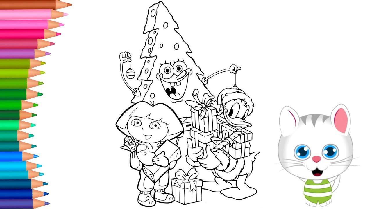 Dora Paperino Spongebob Di Natale Come Disegnare E Colorare
