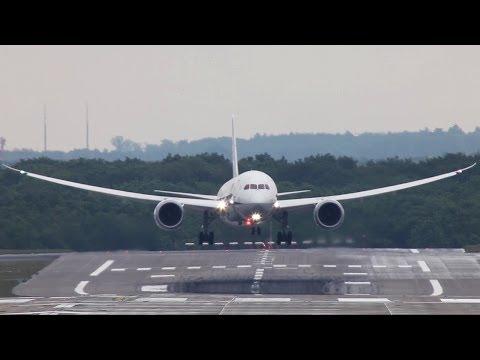 Boeing 787 Wingflex !! ANA Boeing 787 Landing at Düsseldorf (HD)