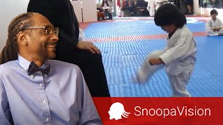Little Boy Trying to Break Board in Taekwondo in SnoopaVision