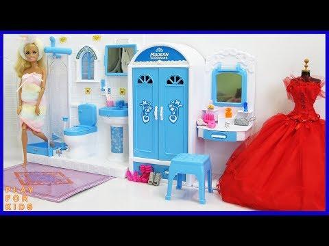 Barbie Bedroom 💕 Bathroom Shower Morning Routine 🎈