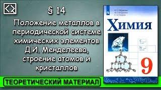 """9 класс § 14 """"Положение металлов в ПСХЭ Д.И. Менделеева, строение атомов и кристаллов"""""""