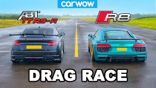 Audi R8 vs TT RS-R: Drag Race *V10 vs ABT-tuned 5cyl*