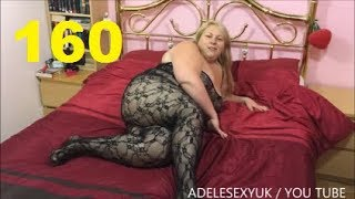 ADELESEXYUK TRYING ON A PLUS SIZE STRETCH LACE BODY STOCKING WITH CROSS OPEN BACK