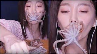 影/網紅生吞活章魚!8觸手嘴邊掙扎 網驚:好像異形入侵
