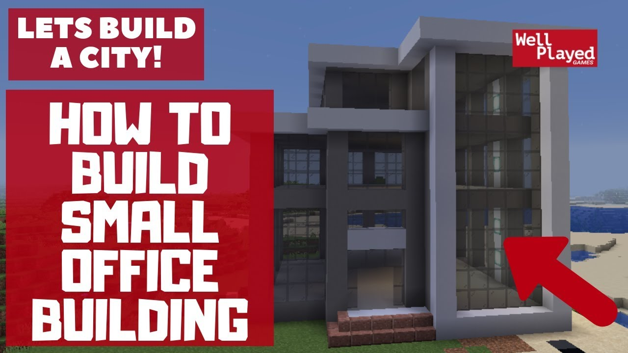 How To Build Small Office Building Minecraft Lets Build A City Ep56 Youtube