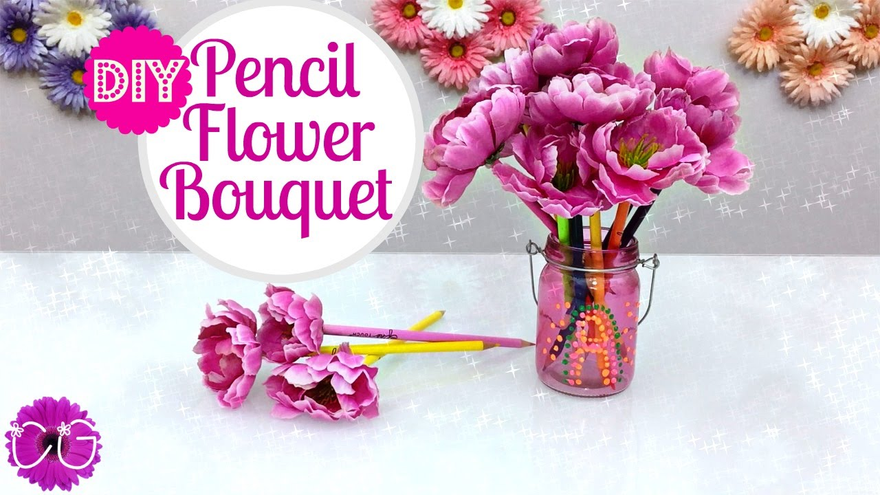 DIY FLOWER PENCIL/PEN BOUQUET! PRETTY AND SO EASY! - YouTube