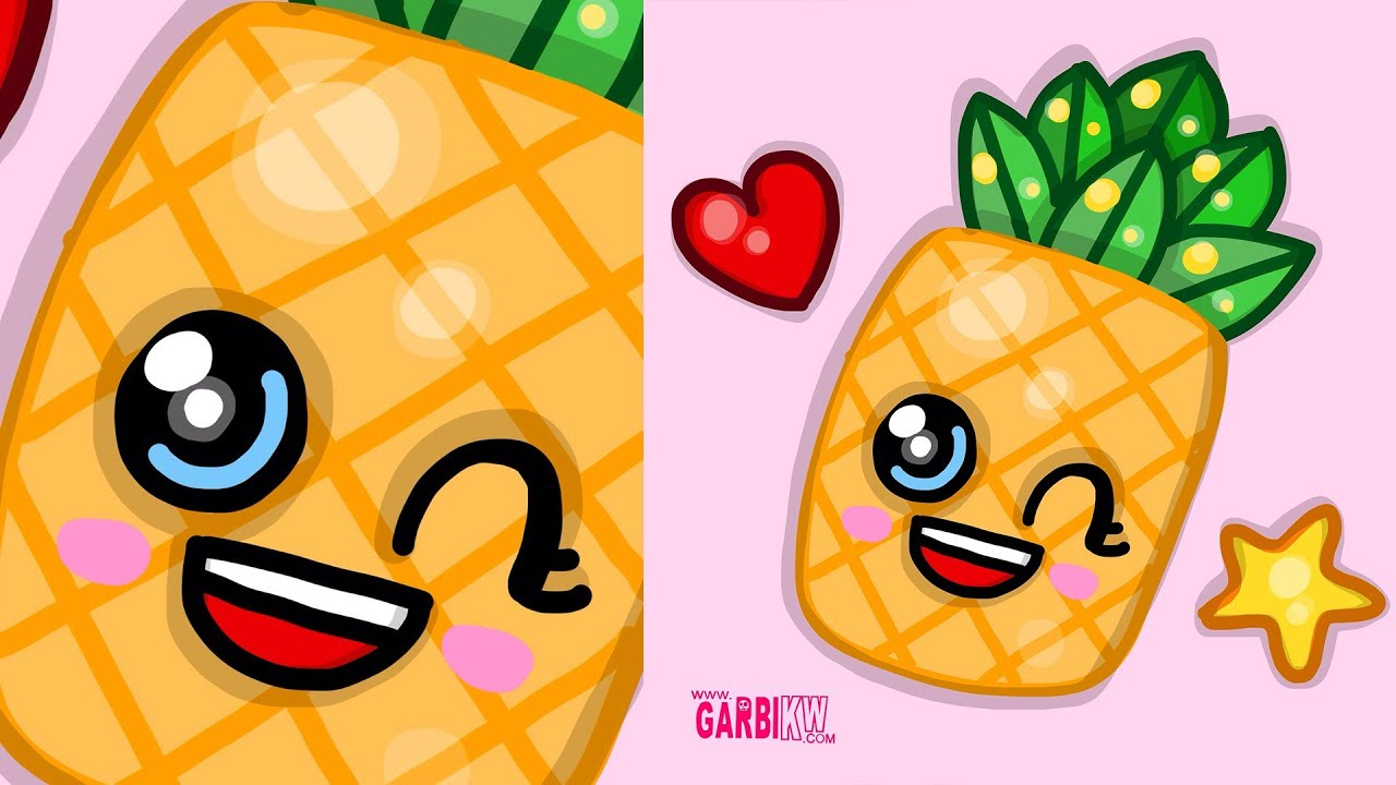 How To Draw A Kawaii Pineapple by Garbi KW - easy drawings ...