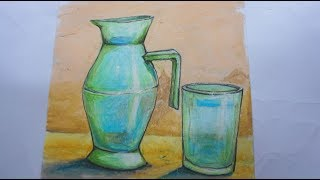 how to draw a beautiful a jug and glasses | easy art using pencil and oil pastels