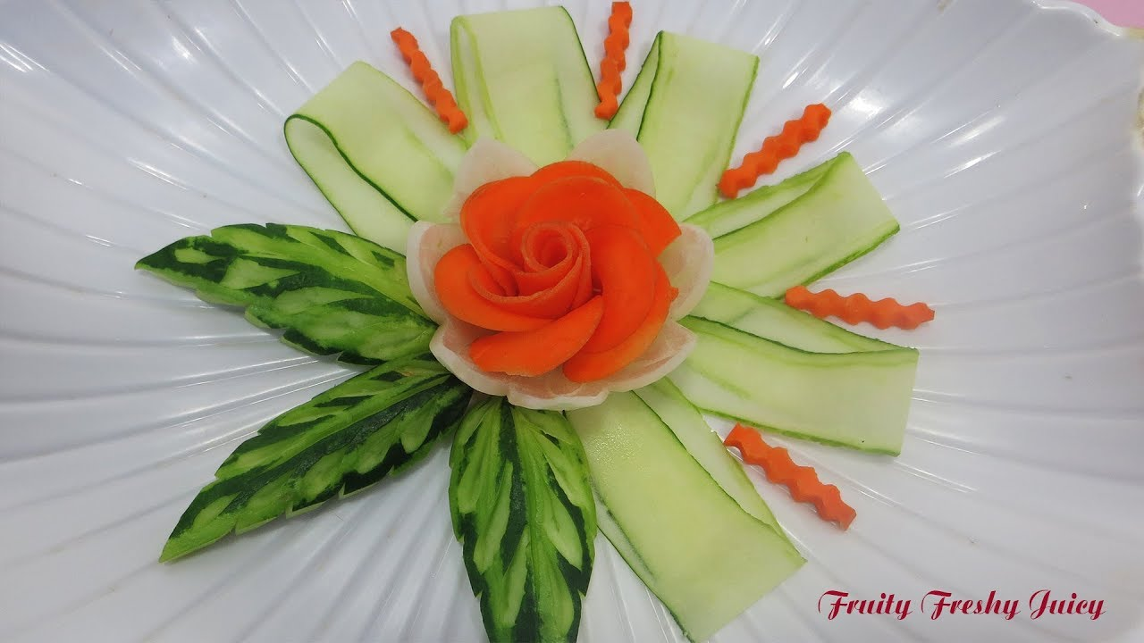 Authentic Carrot Rose With Cucumber & Onion Designs - Best Vegetable Flower Garnish