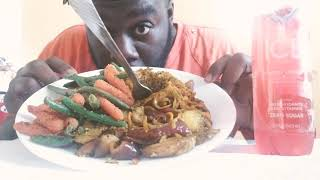 Vegan Mukbang : butternut squash lo mein/garlic veggies (RIP Auntie fee)