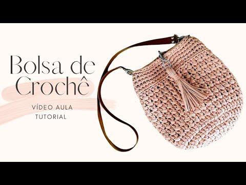 Bolsa de Crochê Com Fio de Malha - Crochê Passo a Passo - Tutorial de Bolsa Fácil - Aula de Crochê