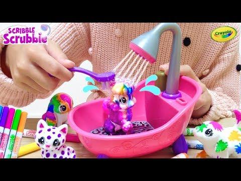 ネコちゃん ワンちゃん ペイント&シャンプー 海外おもちゃ / Paint and Wash Pets! Crayola Scribble Scrubbie Pets Playset