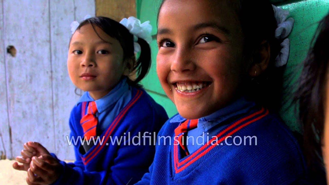 Cute Little Indian School Girls In Darjeeling