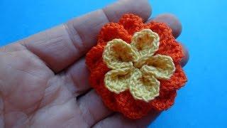 Вязаные цветы крючком Crochet flower 77