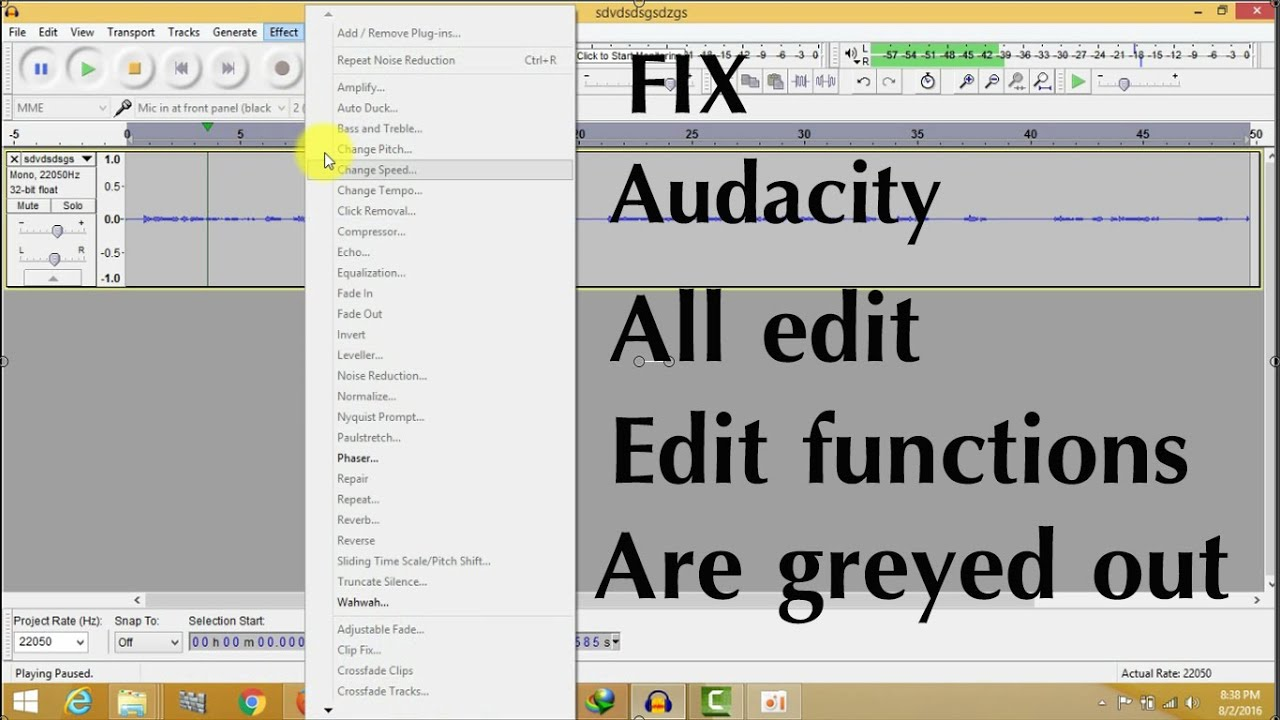 All options get Greyed out in audiocity   Audacity-all edit functions are  greyed out