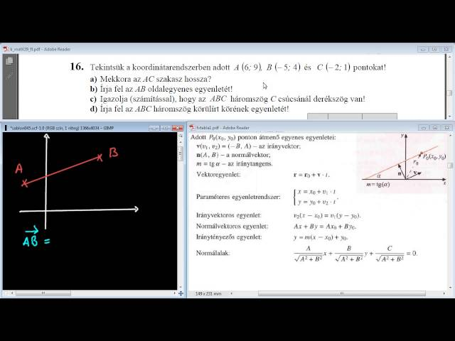 16/b Feladat - Egyenes egyenlete