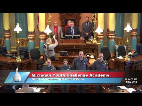 Sen. O'Brien welcomes the Michigan Youth ChalleNGe Academy to the Michigan Senate