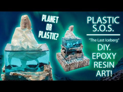 Polar Bear ' Epoxy Resin Art ! Global warming ' Plastic S.O.S.