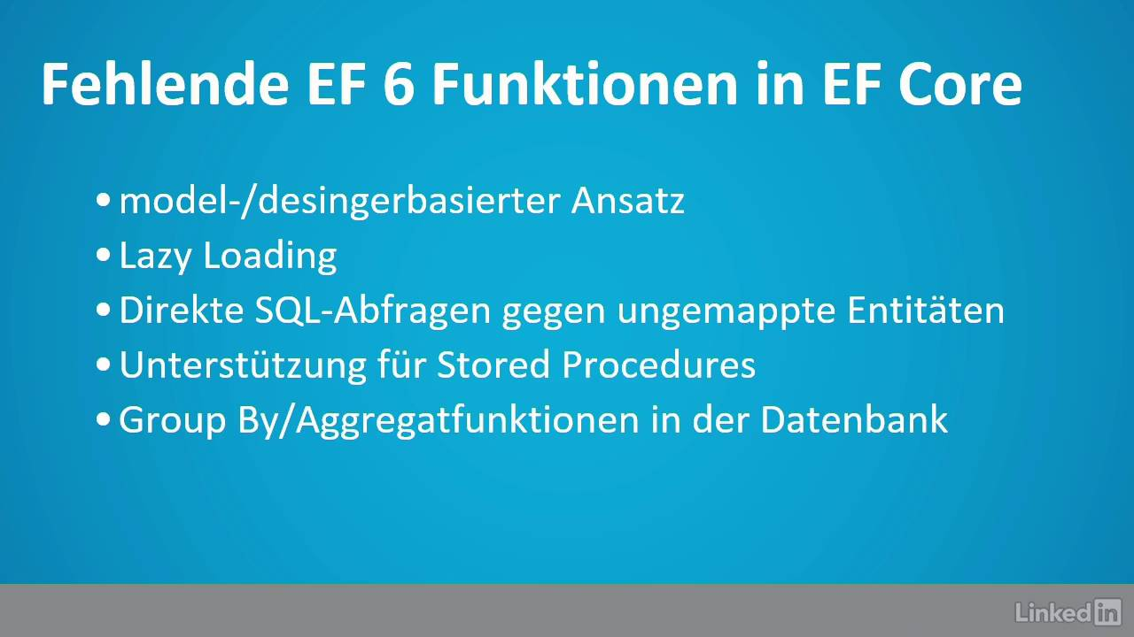 Entity Framework Core Tutorial: Das unterscheidet das Framework Core vom  Framework 6|video2brain com