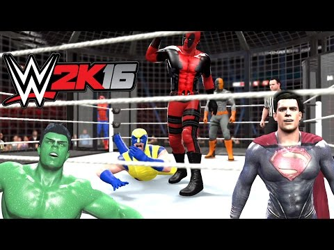 WWE 2K16 - Superman VS Hulk VS Spiderman VS Deadpool VS Deathstroke VS Wolverine
